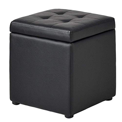 MFLASMF Foot Stool Ottoman Storage Footstool Shoe Bench Sofa Stool Toy Chests Padded Seat Living Room, 2 Sizes, 2 Colors (Color : Black, Size : 40X40X40CM)