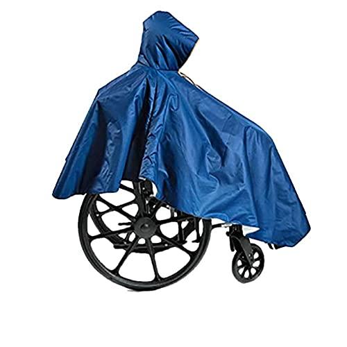 Poncho para silla de ruedas, para adultos, ancianos, para personas mayores, capa para silla de ruedas, resistente, reutilizable, azul marino, cobertura impermeable completa, capucha frontal co