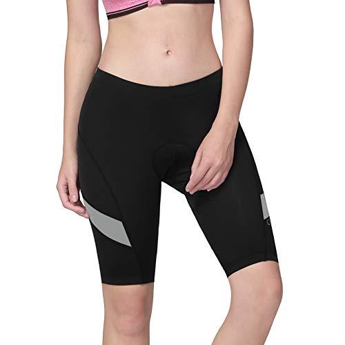 CAMEL CROWN Pantalones cortos de ciclismo para mujer con acolchado de gel 3D, transpirables, pantalones cortos de ciclismo para mujer acolchados, pantalones cortos elásticos negro / gris L