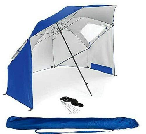 BestIF - Ombrellone da spiaggia, misura XXL, robusto ombrellone 2 in 1 per spiaggia e giardino, protezione solare UV 50, pieghevole, multifunzione, con finestra, 210 x 220 cm