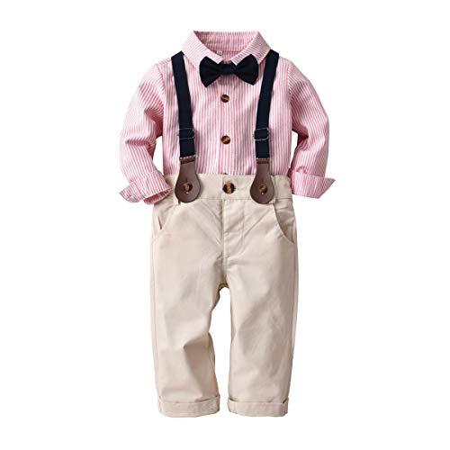 Natashas Baby Jungen Bekleidungssets Gentleman Anzug Kleinkinder Baumwolle Langarm Taufanzug Kinderbekleidung Hemd mit Bogen+Hose+Träger (Rosa, 80cm)