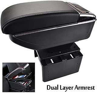 XUKEY Universal Dual Layer Car Armrest Arm Rest Storage Box Black Leather