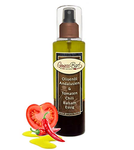 Sprühflasche Salatdressing 0,26L Olivenöl & Tomaten Chili Balsam Essig Öl Spray in Premium Qualität Pumpspray Vinaigrette für unterwegs / Büro / Camping