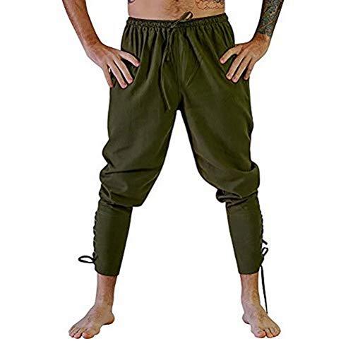 KJHSDNN Pantalons Homme Médiéval Pantalon de Renaissance Taille Elastique Fitnesse Sport Carnaval Halloween Cosplay
