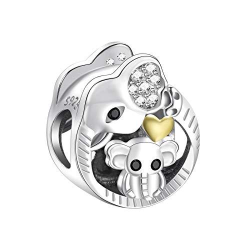 NINGAN Regalos para mamá, mamá y bebé elefante encanto se ajusta a Pandora Charms pulsera, 925 de plata esterlina encanto del corazón del amor - Día de la Madre de joyería de regalo para las mujeres