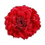 iKulilky Haarspange Damen,Blumen Haarschmuck,Blume Haarklammern Haarclip Brosche Strohhut Zubehör Kleid Zubehör für Hochzeit Badeurlaub - Rot