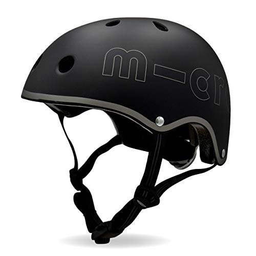 Micro Childrens Deluxe Safety Helmet Black Rear Light Fidlock Boy Girl Scooting Bike Small 48 52Cm