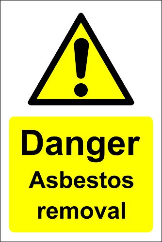Gevaar asbest verwijdering Veiligheidsbord - Zelfklevende sticker 400mm x 300mm