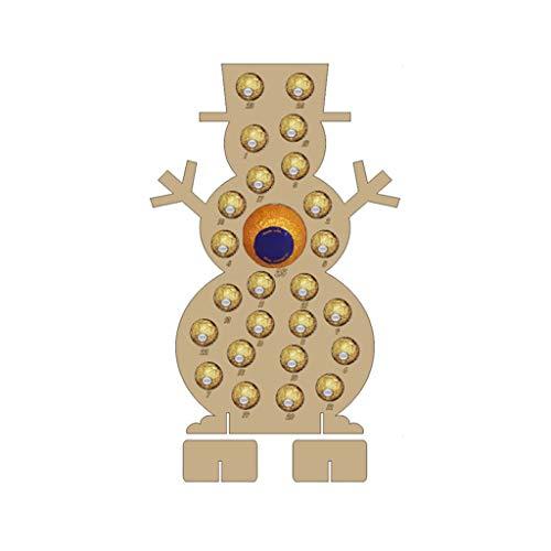 Ruda - Calendario de Adviento de madera hecho a mano con cuenta regresiva para árbol de Navidad, alce y chocolate, soporte para decoración del hogar