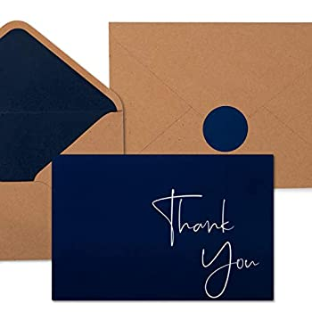 """100 Navy Blue Thank You Cards with Envelopes & Stickers   Classy Thank You Notes Bulk Box Set   Large Professional Looking 4"""" x 6  Cards Perfect for Business Graduation Baby Shower & Wedding"""