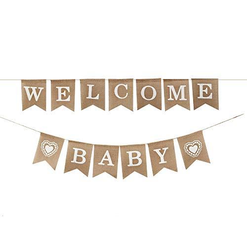DIYARTS Willkommen Baby Banner Rustikale Sackleinen Banner Geschenk Baby Dusche Banner Girlande Girlande Für Baby Dusche Engagement Hochzeit Brautdusche Party Dekorationen