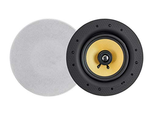 Monoprice Caliber 60-Watt Powered 6.5in Ceiling Speakers Fiber 2-Way with Bluetooth