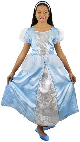 I LOVE FANCY DRESS LTD Longue Robe Bleue de la Princesse aux Pantoufles de Verre pour Enfant avec Son Bandeau pour Cheveux. ( 12-13 Ans )