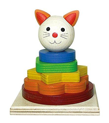 Hess Holzspielzeug 14853 - Stapelturm Katze aus Holz, 9 x 9 x 10,5 cm, bunt
