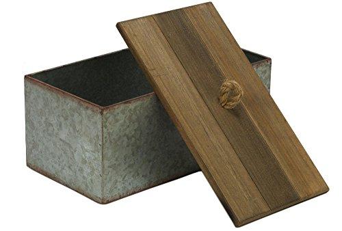 Rústico Caja de almacenamiento con tapa de madera de metal galvanizado–Country Style
