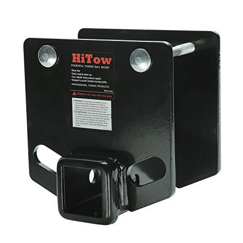 HITOWMFG Drop-Down Bumper 2 inch Receiver Adapter for 4x4 inch Bumper Trailer Towing Cargo Carrier Bike Racks