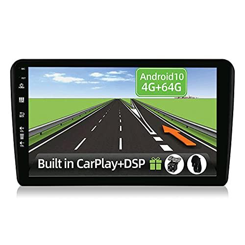YUNTX Android 10 2 Din Autoradio adatto per Audi A3 8P(2003-2013)-4G+64G-[Integrato CarPlay/Android auto/DSP]-Gratuiti 4LED Camera-Supporto DAB/Controllo del Volante/360 Camera/MirrorLink/Bluetooth