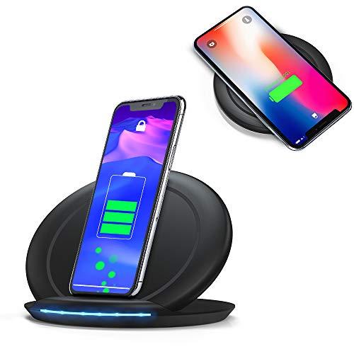 PERFINE 10W Qi Portátil Cargador Inalámbrico Rápida [Soporte & Tablet] para iPhone 11/11Pro/XS Max/XR/XS/8/8 Plus, Samsung Galaxy S20/S10/S9/S9+ /S8/S8+ etc