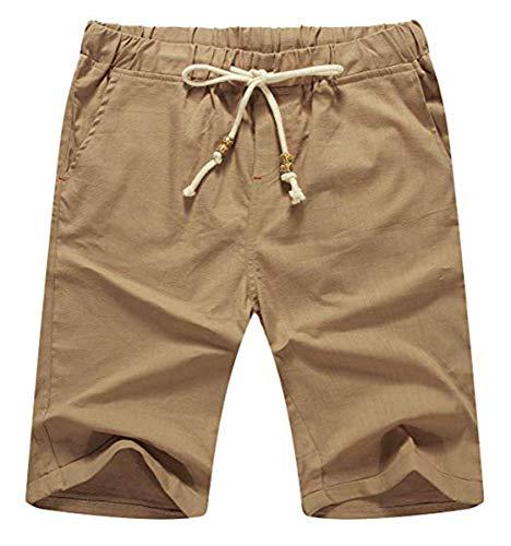 NITAGUT Men's Linen Casual Classic Fit Short (L(US 38-40), 03 Dark Khaki)