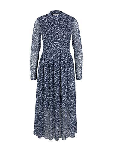 TOM TAILOR Denim Damen 1024509 Mesh Kleid, Blue Flower Print, S