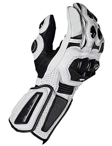 PUNK FAMILY Gants de moto pour homme en fibre de carbone anti-chute, Mixte, blanc, xl