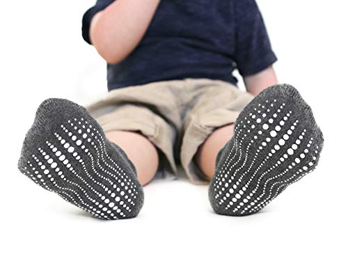 LA Active Baby Toddler Grip Ankle Socks - 6 Pairs - Non Slip/Skid Covered (Boys, 12-36 Months)
