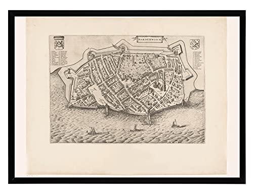 Historische Kaart Harderwijk - Oude Stadsplattegrond - Antieke Kaart 50x70