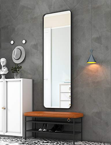 """NXHOME Metal-Framed Full Length Mirror - 65""""×22"""" Black Large Floor Mirror Standing Hanging or Leaning Against Wall, Modern Dressing Mirror Wall-Mounted Mirror for Locker Room"""