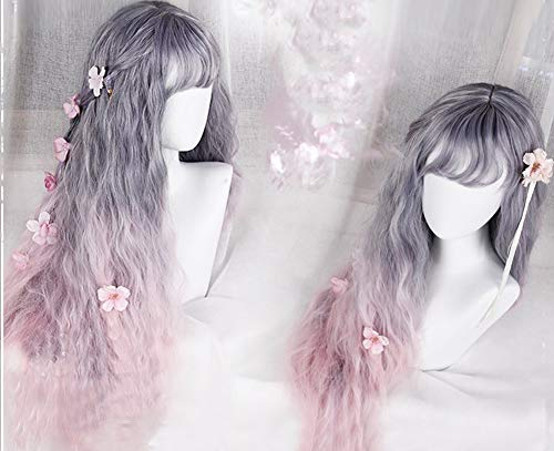 "31"" Women Girls Japan Harajuku Elegant Sweet Lolita Natural Looking Daily Wear Cute Fluffy Healthy Long Grey Purple & Pink blend Curly Kanekalon Full Wig Cosplay"