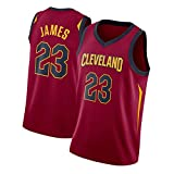GDHA Cleveland Cavaliers LeBron James 23 # Camiseta de baloncesto, camiseta sin mangas deportiva chaleco de malla, Wicking Hip Hop ropa rojo -L