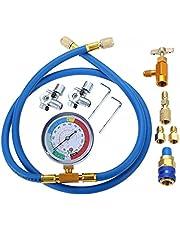 huhu A/C R134A koelmiddel opladen slang kit, oplaadslang met gauge R13a kan tikken en snel stel R410A rechte zwenkadapter
