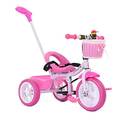 Kids Tricycle, with Detachable Push Handle 3 Wheel Toddlers Children Ride on Pedal Trike Bike Metal Frame 18 Months to 5 Years (Color : Pink)