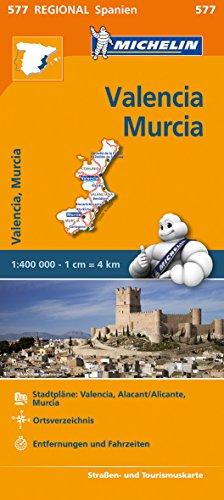 Michelin Valencia, Murcia. Straßen- und Tourismuskarte 1:400.000: Stadtpläne: Valencia, Alacant/Alicante, Murcia. Ortsverzeichnis. Entfernungen und Fahrzeiten: 577