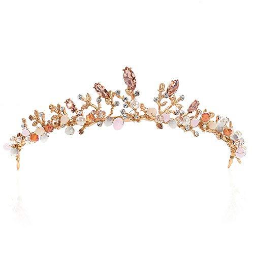 Ouuager-Home Krone Stirnband Kristallkopfstück Wulstige Band Kristall Strass Hochzeit Hauptband-Brauthaar Accessorie Kopfbedeckungen Kristallrhinestone Crown (Color :...
