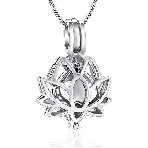 Cremation Jewellery Cremation Jewelry Urn Necklaces for Ashes for Women Stainless Steel Ashes Keepsake Lotus Flower Pendant Necklace ashes urns cremation keepsake memorial