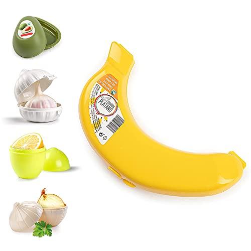 Plastic Reusable Vegetable Storage Box Garlic Keeper Safe Box Banana Case Lemon Saver Freezer Fridge Holder Left Over, Fresh-Keeping Cases (Banana Case)