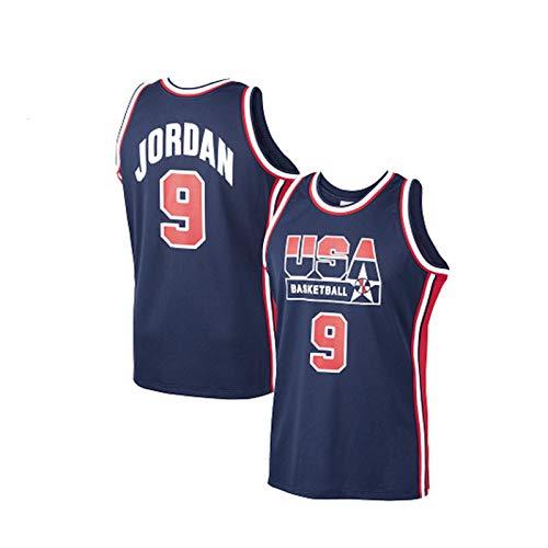 QPY Jordan #9 USA Dream Team - Camiseta de baloncesto para adultos, bordada de tamaño estándar, sin mangas, ropa de entrenamiento (S-XXL), color azul y XL