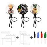 Pineapple Nurse Badge Reel Decorative Badge Holder Retractable Badge Holder Carabiner Reel Clip Badge Reel,ID Badge Reels