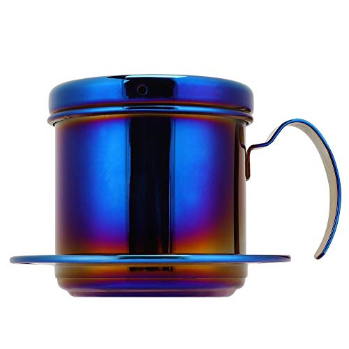 Cafetera, acero inoxidable estilo vietnamita cafetera de goteo para hogar cocina oficina al aire libre(Azul)
