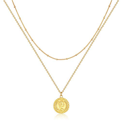 Mevecco Carved Gold Layered Coin Pendant Necklace for Women Men,18K Gold Plated Dainty Minimalist Necklace for Women