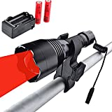 WINDFIRE WF-360R Red Hunting Light Tactical LED Flashlight 350 Yards Focus Adjustable Torch Coyote Hog Fox Predator Varmint Night Hunting Lamp Sets with Pressure Switch, Scope Mount, 18650 Batteries