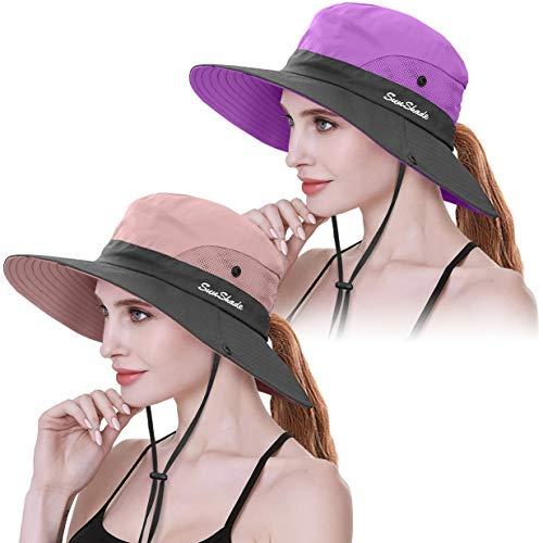 Women Wide Brim Hiking Hat Beach Bucket Summer Foldable Cap Sun Protection UK