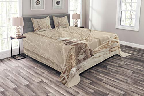 Ambesonne Fishing Net Bedspread, Marine Theme Sea Stars and Shells Underwater Life Wooden Lighthouse Print, Decorative Quilted 3 Piece Coverlet Set with 2 Pillow Shams, Queen Size, Beige Cream