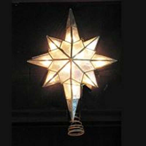KSA Lighted Capiz Shell Star of Bethlehem Christmas Tree Topper - Clear Lights