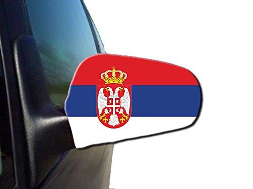 Sonia Originelli 2er Set Außenspiegel Flagge WM Fußball Fan Auto Fahne Farbe Serbien