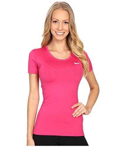 Nike NP CL Short Sleeve - Camiseta de manga corta para mujer, rosa / blanco (vivid pink / white), talla L