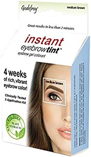 Godefroy Instant Eyebrow Color, Medium Brown, .18 ounces, 12-weeks of long lasting brow color, 3-applications per kit