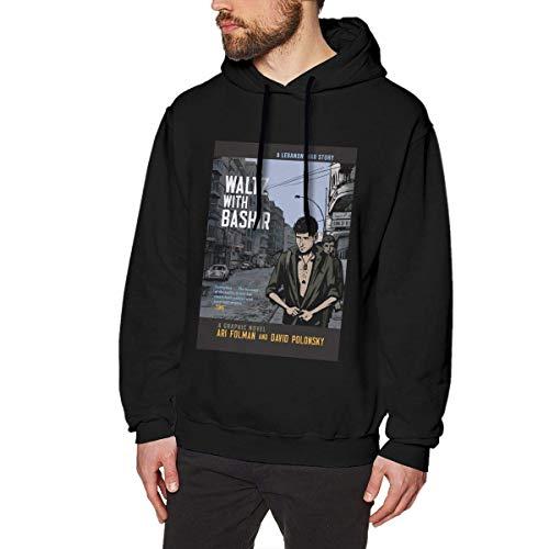 DDECD Herren Hoodie Kapuzenpullover Louishollings Men's Print Pullover Hoodie Style Waltz with Bashir Black Hooded Sweatshirt