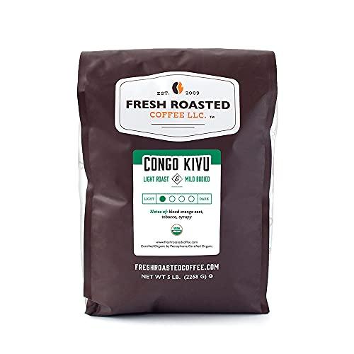 Fresh Roasted Coffee, Organic Congo Kivu, Light Roast, Kosher, Whole Bean, 5 Pound