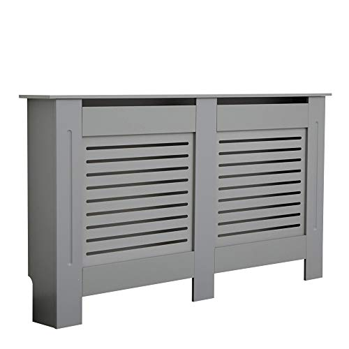 BFW Wooden Grey Radiator Cover with Grill, Large